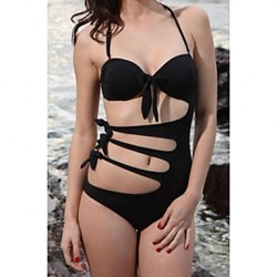 Women's Halter One-pieces , Solid/Bandage Nylon/Spandex Black