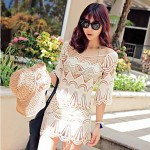 Women's Sexy/Beach/Casual/Lace/Party Micro-elastic ½ Length Sleeve Long Blouse (Lace)