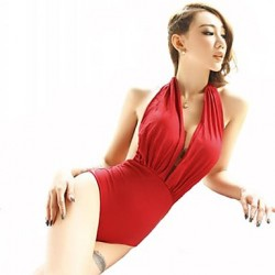 Women's Halter One-pieces , Solid Wireless Spandex/Modal Red