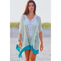 Women's Embroidered V Neck Tulle Beach Cover-up