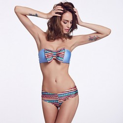 The Fille Women's Sexy Floral Bowknot/Wireless/Padded Bras /Fluorescent Blue Bandeau Bikini Australia Tops
