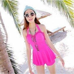 Women Halter Multi Pieces , Solid Ruffle Push Up Spandex Pink Blue Green Red