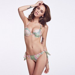 The Fille Women's Bombshell Push-up/Palmate Padded Underwire Bras/  Paisley Stamping Halter Bikini Australia Tops