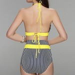 Women Bandeau Bikinis Australia , High Rise Color Block Geometric Push Up Spandex Yellow