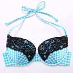 The Fille Women Bombshell Push Up Padded Bras Sexy Black Lacy Underwire Bra Blue White Lattice Halter Bikini Australia Tops