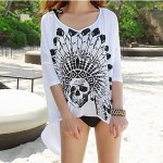 Women's Cover-Ups , Floral Cotton Blends White