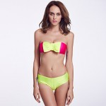 The Fille Women Cute Fluorescent Green Bowknot Wireless Padded Bras Rose Red Bandeau Bikini Australia Tops