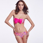 The Fille Women Cute Rose Red Bowknot Wireless Padded Bras Retro Floral Stamping Bandeau Bikini Australia Tops