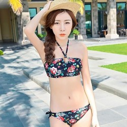 Women Spandex Halter Flower Pattern Sexy Gather Bikini Australia Two Piece Bikinis Australia