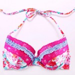 The Fille Sexy Bombshell Push-up/Padded Underwire Bras/ Watercolor Printed Floral Halter Bikini Australia Tops