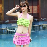 Women Bandeau Tankinis , Solid Polyester Pink Green Yellow