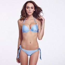 The Fille Women's Bombshell  Push-up/Palm Like Padded Bras/Underwire Bra Solid Halter  Fluorscent Blue Bikini Australia Tops