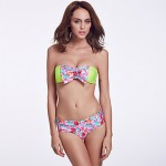 The Fille Women Cute Floral Watercolor Bowknot Wireless Padded Bras Fluorescent Green Bandeau Bikini Australia Tops
