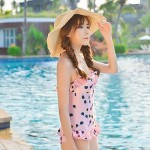 Women's Halter One-pieces , Floral/Ruffle Spandex White/Pink
