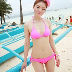 Women Halter Bikinis Australia , Solid Wireless Padded Bras Nylon Others Spandex Pink Blue Yellow Orange Black