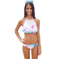 Women's Halter Bikinis Australia , Floral Wireless/Padded Bras Polyester Multi-color
