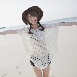 Women's Cover-Ups , Solid Cotton/Mesh White