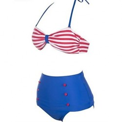 Women's Fashion Sexy Red&White Stripe High waist Bikini Australia Set Swimwear Australia Swimsuit Australia Beachwear