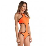 Women's Halter One-pieces , Solid Others Pink/Blue/Green/Orange