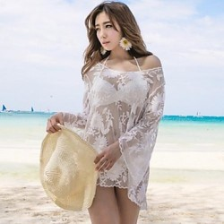Women's Fashion Sexy white Stylish Round Collar Nets Embroidered Long Sleeve Bikini Australia Beach Cover Up