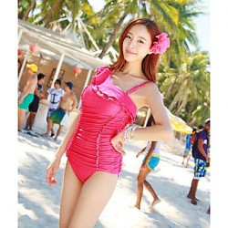 Women's Straped One-pieces , Solid/Ruffle Nylon/Spandex Blue/Pink