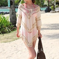 Women's Fashion Sexy Solid Cotton Hollow Crochet Swimwear Australia Swimsuit Australia Bikini Australia Sun Beach Cover-up