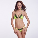 The Fille Women Wireless Padded Bras Black Lacy Triangle Cups Fluorescent Green Halter Bikini Australia Tops