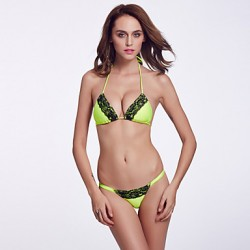The Fille Women's Wireless/Padded Bras /Black Lacy/Triangle Cups/ Fluorescent Green Halter Bikini Australia Tops