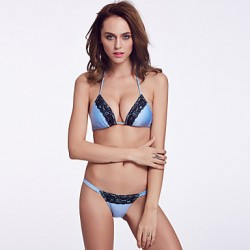 The Fille Women's Wireless/Padded Bras /Black Lacy/Triangle Cups/ Fluorescent Blue Halter Bikini Australia Tops