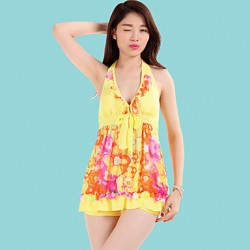 Women's Halter Tankinis , Floral Polyester Pink/Green/Yellow
