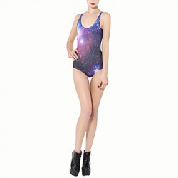 Women's Polyester Wireless/Padless Bra Halter One-pieces Space Galaxy Swimsuit