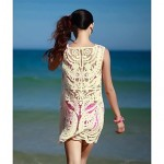 Women Fashion Beige Hollow Crochet Swimwear Australia Swimsuit Australia Bikini Australia Beach Cover Up Strapless Vest Dress