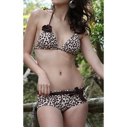 Women's Halter Bikinis Australia , Animal Nylon/Spandex Brown