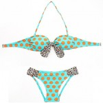 Women Halter Bandeau Bikinis Australia , Dot Animal Wireless Nylon Multi Color