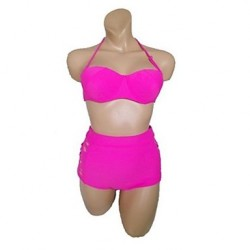 Women's Halter Bikinis Australia , High Rise/Solid Push-up/Underwire Bra Nylon/Polyester Pink