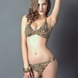 Women's Halter Bikinis Australia , Animal Push-up Nylon/Polyester Animal Print