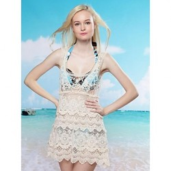 Women's Fashion Sexy Beige Hollow Crochet Swimwear Australia Swimsuit Australia Beachdress Bikini Australia Cover-up
