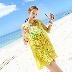 Women's Stylish Sexy Yellow Hollow-out Kintwear Beach Strapless Vest Dress