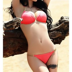 Women's Fashion Sexy Solid Chain Beach wear Bikini Australia Set Swimwear Australia Swimsuit