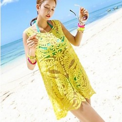 Women's Fashion Yellow Hollow Crochet Swimwear Australia Swimsuit Australia Bikini Australia Beach Cover-up Strapless Vest Dress