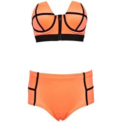 Women's Bandeau Bikinis Australia , High Rise/Color Block Push-up/Underwire Bra Nylon/Polyester Orange/Green