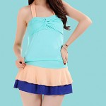 Women's Halter Tankinis , Color Block Polyester Pink/Blue