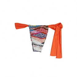 Pink Queen® Women's Nylon/Spandex Orange Fashion Sexy  Stripe String Swimwear Australia Bottom