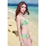 Women Halter Bikinis Australia , Floral Push Up Padded Bras Underwire Bra Nylon Spandex Green Red