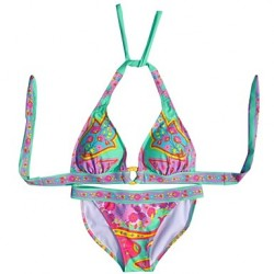 Women's Fashion Sexy Multicolor Flowers Push Up Beachwear Bikini Australia Set Swimwear Australia Swimsuit