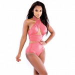 Women Halter Tankinis , Solid Wireless Polyester Pink