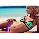 Anny Women Wireless Color Block Bandeau Bikinis Australia Polyester