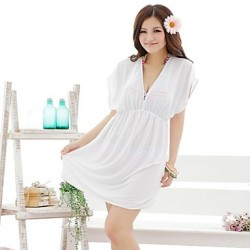Women's European and American Style White V-Neck Beach Dress
