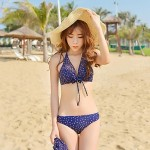 Women Halter Bikinis Australia Multi Pieces , Dot Spandex Blue