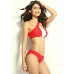 Women's Halter Bikinis Australia , Color Block Sports Bras Polyester/Spandex Red